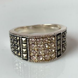 Jewelry - Marcasite Cubic Zirconia Sterling Ring Size 6